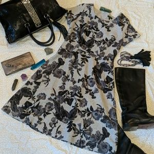 Talbots Grey Floral Wool Blend Dress